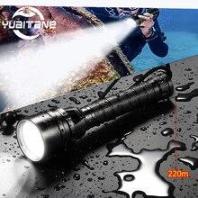 Leistungsstarke Tauchen Taschenlampe T6/L2 Scuba Dive Taschenlampe TIEFE Unterwasser Wasserdicht 50W Led Taschenlampen Laterne licht durch 18650 batterie