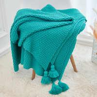 Manta de punto de viaje para aire acondicionado con borla para cama, funda de sofá, textil para el hogar, antipilling, portátil