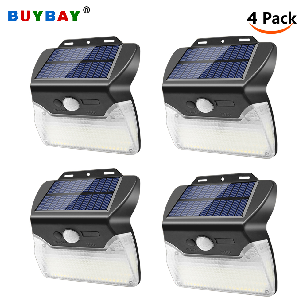 4 Pack 110 LED Solar Lights Outdoor Led Solar Powered Wall Lamp with Motion Sensor Waterproof Street Light USB Charge 3 Modes