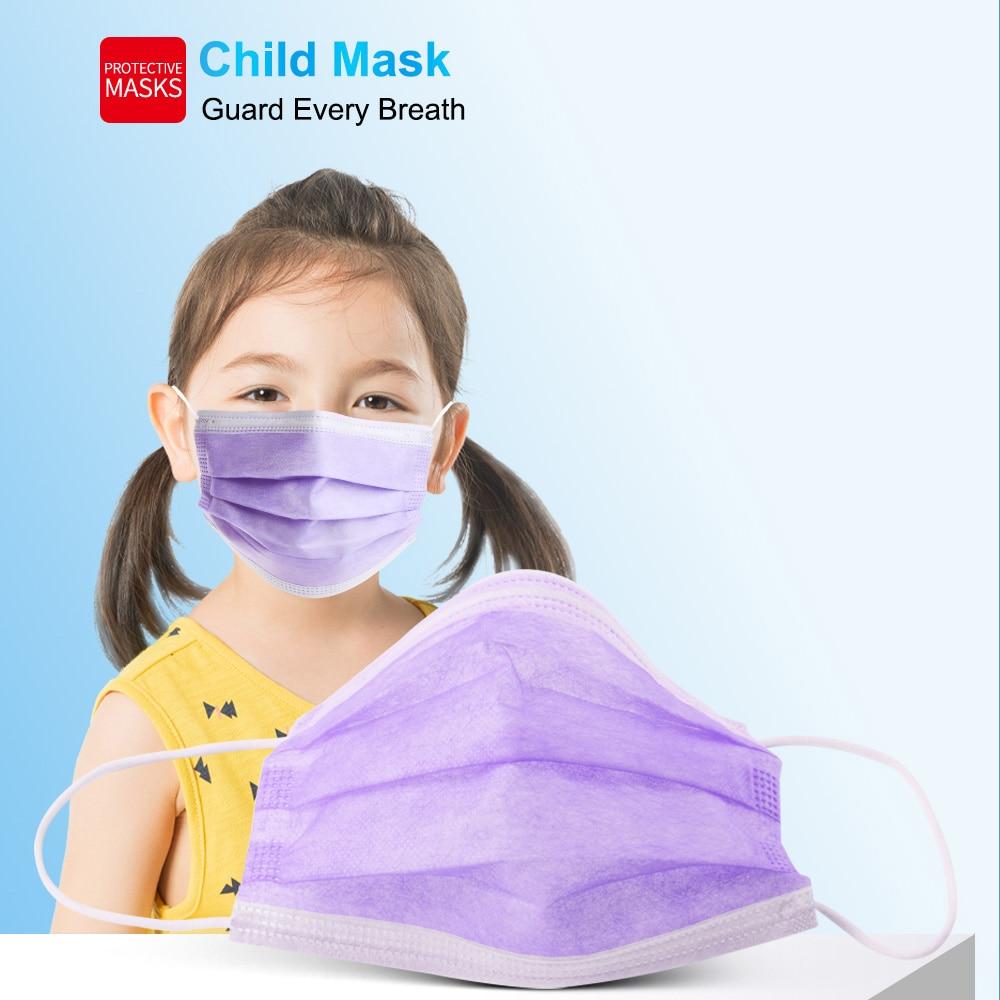 10-200 шт. детские одноразовые маски для лица фиолетовая маска для полости рта 3 Слои изготовленный аэродинамическим способом по технологии пы...
