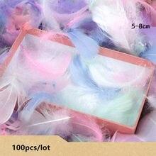 100 pçs/saco penas coloridas presente material de embalagem caixa enchimento suprimentos diy artesanato festa aniversário casamento decoração acessórios