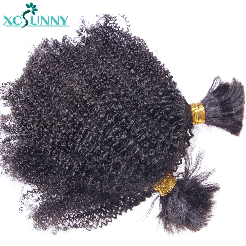 Afro Kinky Bulk Human Hair For Braiding No Weft Remy Brazilian Kinky Curly Hair Bundles Extension 2/3/4Pcs A Lot xcsunny