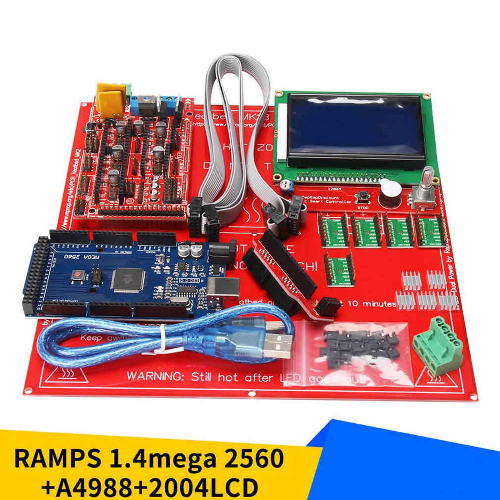 3D Printer Kit 3D Printer Motherboard Set With RAMPS 1.4 + Mega 2560 + 5pcs A4988 Module + 12864LCD Control Panel