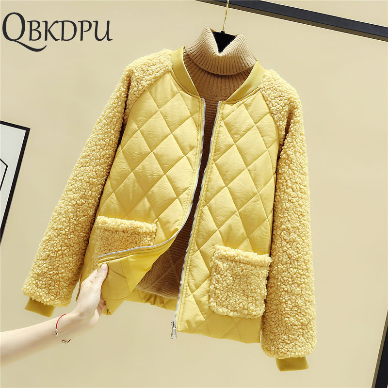 Yellow Patchwork Fashion New Parkas Women Plush Casual Lambs Thicken Loose Cashmere Stitching Jacket Female Casual Streetwear