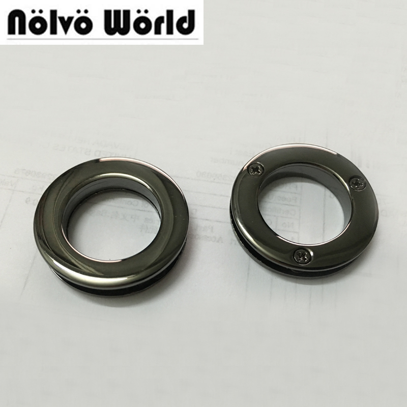 10pcs 6 Colors Inner 2cm Grommet Gunmetal Grommets With 3 Screws Metal Used Bags Hardware Accessory Round Rivet Eyelets