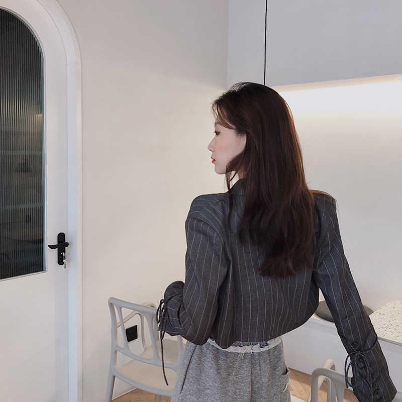 אופנה מעצב פסים בלייזר מעילי מסלול נשי 2019 Loose Oversize מעיל Streetwear מזדמן דק טרייל נשים S0114