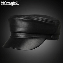 XdanqinX Mens Sheepskin Leather Flat Cap Military Hat Genuine Autumn New Fashion Student Male Bone Snapback