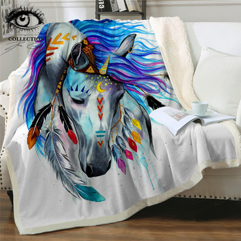 Pferd by Pixie Cold Art Microfiber Blanket for Bed Tribal Horse Throw Blanket Colorful Animal Bedding Watercolor Boho Thin Quilt 1