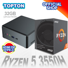 Topton mais barato mini pc amd ryzen r5 3550h r7 2700u vega gráfico 2 * ddr4 jogos computador windows 10 4k htpc hdmi2.0 dp TYPE-C