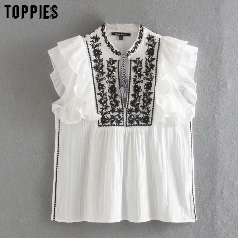 Vintage White Embroidered Tops Women Sequin Beaded Lace Shirts Summer Sleeveless Cotton Blouses