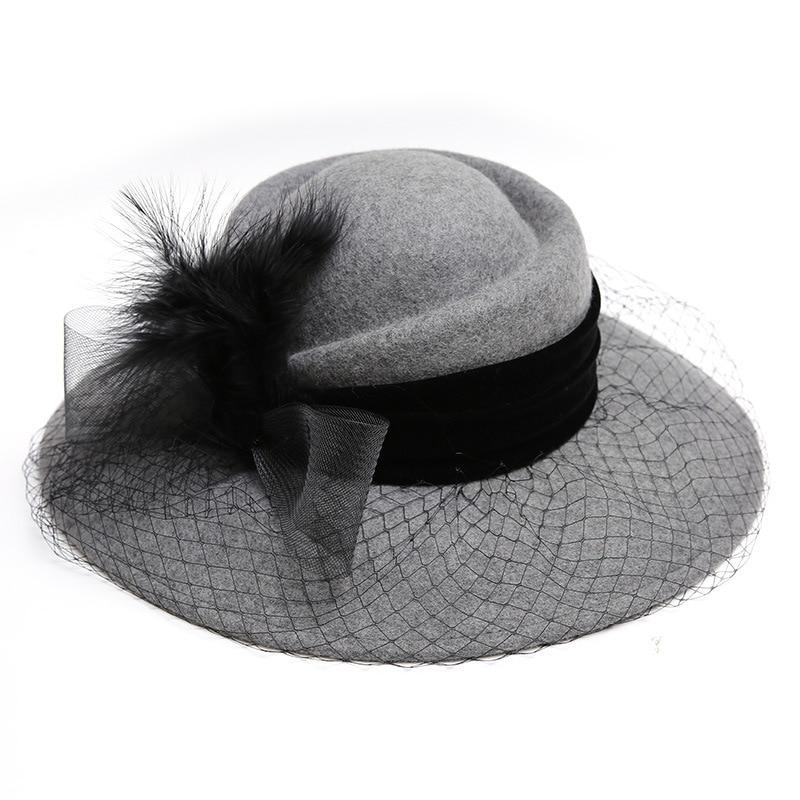 New Free Shipping Fascinator Hats 100% Woolen Fedora Flower Feather Wide Brim Hat For Women Black Church  Party Travel Wear