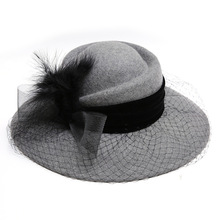 купить New Free Shipping Fascinator Hats 100% Woolen Fedora Flower Feather Wide Brim Hat For Women Black Church Hats  Party Travel Wear дешево