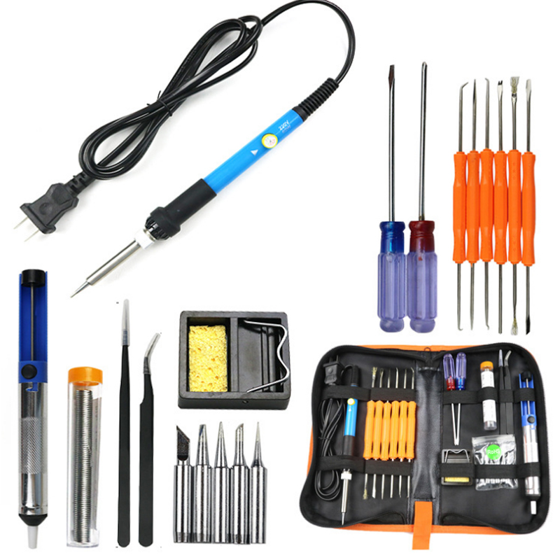 New Electric Soldering Iron Adjustable Temperature Regulations Portable Welding Repair Tool Set Solder Station With Iron Tips