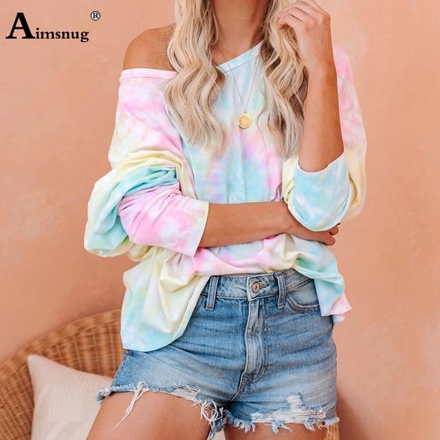 Camiseta informal de ocio para mujer, Blusa de manga larga con estampado Tie-dye, Camiseta holgada de talla grande 3xl para chica 2020 5