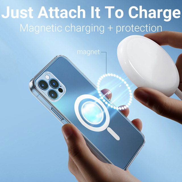 Clear Magsafing Magnetic Case For iPhone 12 Pro Max 11 Case Magsafing Wireless Charger Protective Cover For iPhone12 House Shell 4