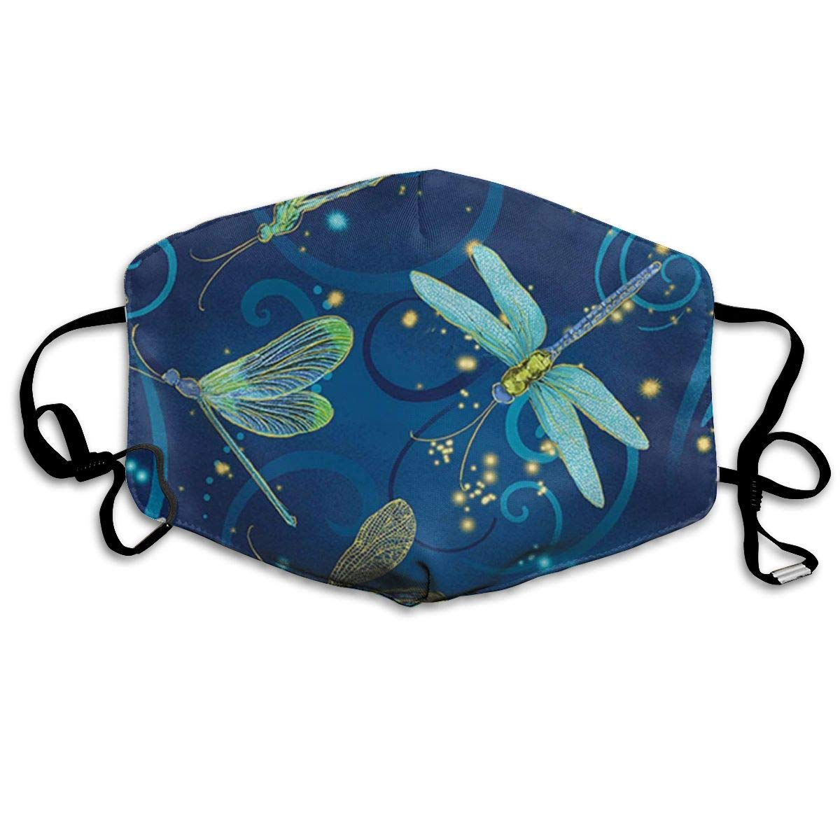 Garde Art Studio   Mask Dancing Dragonfly Swirled Motif Face Mouth Cover For Kids Girls Boys, Unique Reusable &   Dust Proof