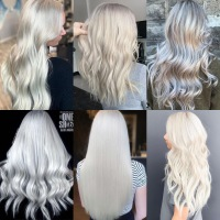 Custom Color balayage Virgin Hair Full Lace Wig 180% density European Hair Made from stock 613 white Blonde Hair
