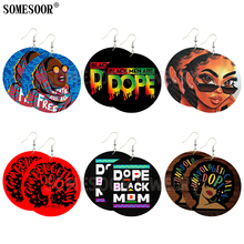 SOMESOOR Mixed 6 Package Sale Unapologetically Dope Black Pride Melanin Wood Double Sides Printing Dangle Earrings For Women