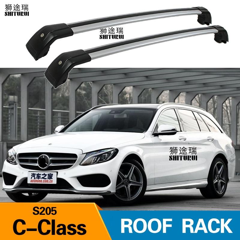 2pcs roof bars for mercedes benz c class s205 5 dr estate 2015 2019 aluminum alloy side bars cross rails roof rack luggage