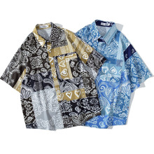 Men Shirt Short Sleeve 2021 New Arrival Summer Loose Flowers Patchwork Pocket Male Shirt Thin Ethnic Chinese Style S70