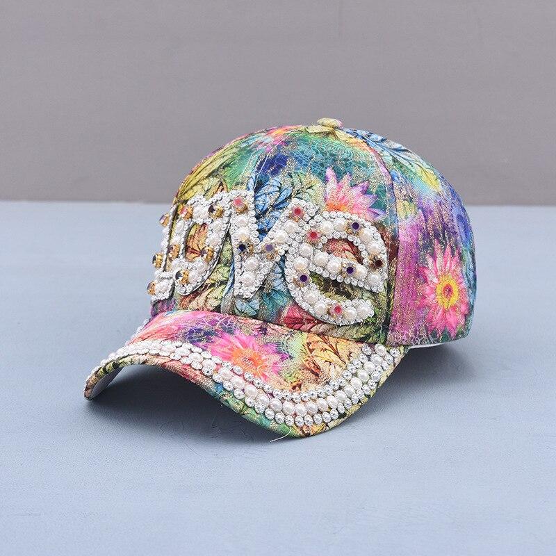 2021 Handmade Pearl Women Baseball Cap Spring Summer Ladies Elegant Mask Diamond Sun Hat Fashion Luxury Travel Cap