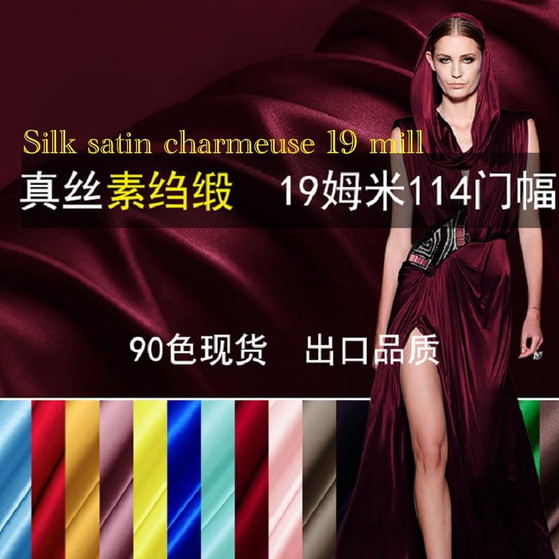 Silk Fabrics For Dresses Blouse Wedding Clothing Meter 100% Pure Silk Satin Charmeuse 19 Mill High-end Free Ship Fashiondavid