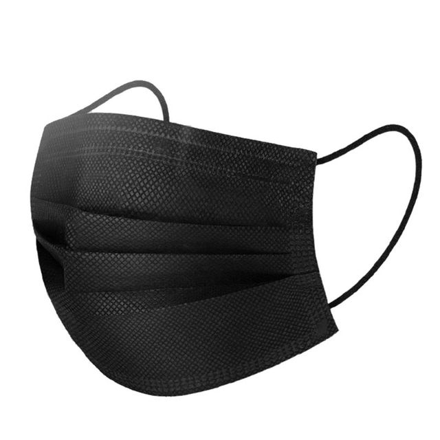 50PCS Mouth Mask Disposable Non-Woven Black Face Mouth Masks 3 Layer Anti-Dust Activated Anti Pollution Mouth-muffle 17.5x9.5cm 2