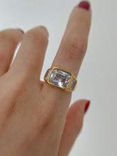 Titanium With 18 K Gold Geo Rhinestone Band Statement Ring Women Jewlery Designer T Show Club Cocktail Party Rare Japan Korean