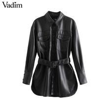 Vadim, женские черные Куртки из искусственной кожи, галстук-бабочка, пояс, карманы, длинный рукав, пальто с разрезом, женская верхняя одежда, шикарные повседневные топы CA585