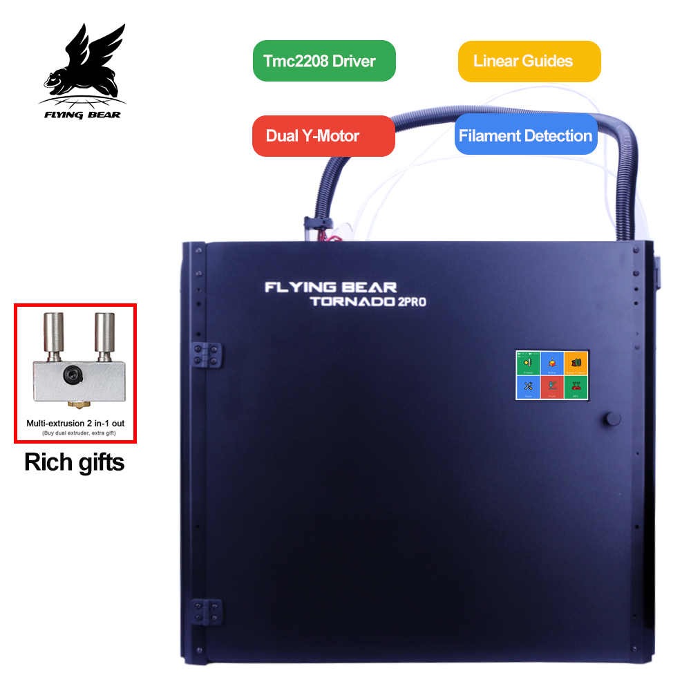 Nova versão flyingbear tornado 2 pro grande impressora 3d diy trilho linear de metal completo kit impressora 3d precisão dupla extrusora