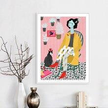Скандинавский современный женский и кошачий абстрактный персональный