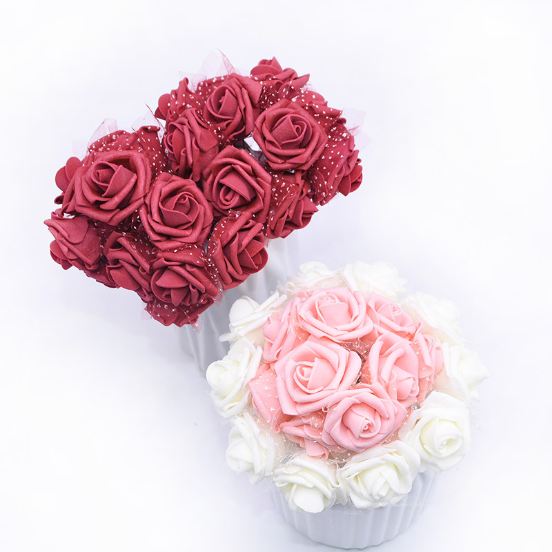 30/60pcs 3.5cm roses Silk Foam Artificial Rose Flowers Bouquet for Wedding Decoration DIY Bride Bouquet DIY Home Decor Supplies