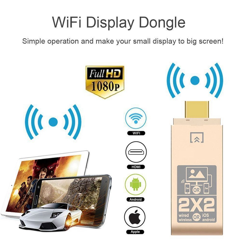 Buy Wireless WiFi HDMI Display Dongle 2.4GHz TV Stick Miracast Airplay DLNA Adapter for only 17.77 USD