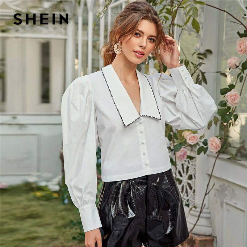 SHEIN White Contrast Scallop Stitch Bishop Sleeve Crop Shirt Blouse Women Spring Cotton Elegant Glamorous Chic Tops And Blouses