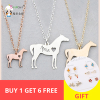 SG 925 Sterling Silver Horse Necklace Personalized Custom Pet Shape and Engrave Name Pendant Necklace Ideas Gift Free shipping.