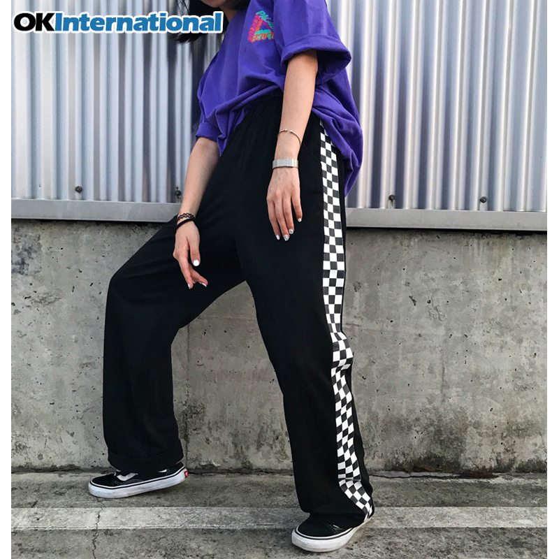 OKInternational Harajuku Loose Checkerboard Unisex Pants Punk Black White High Street Long Trouser