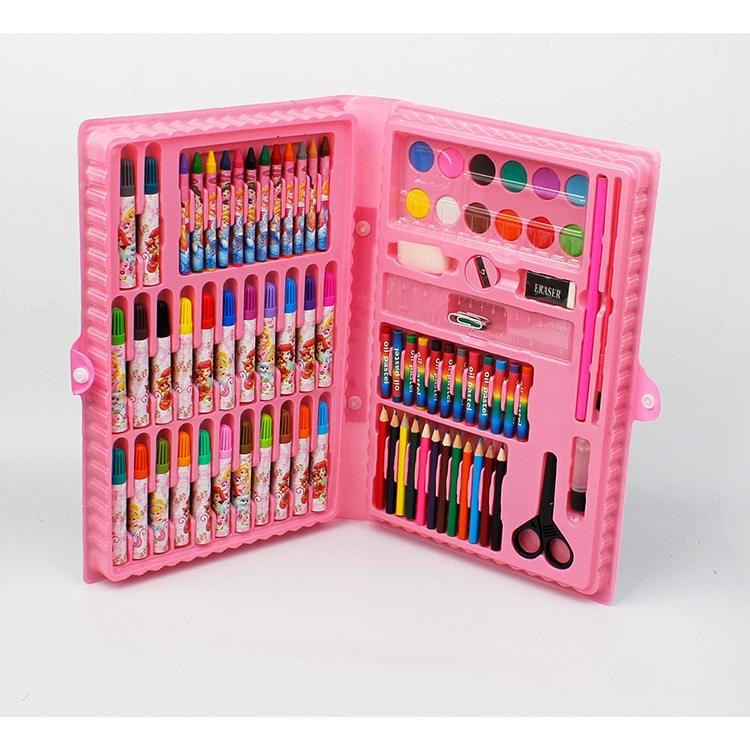 Set Of 86 Pieces Primary School Children's Brush Watercolor Pen Boxed Painting Hand-held Painting Tool Set Stationery
