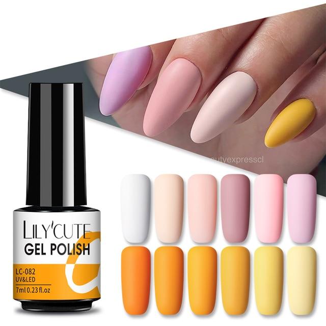 LILYCUTE Matte Gel Nail Polish Matte Top Coat Need 7ML Autumn Color Hybrid Varnish Soak Off UV Gel Nail Art Design Gel Polish 2