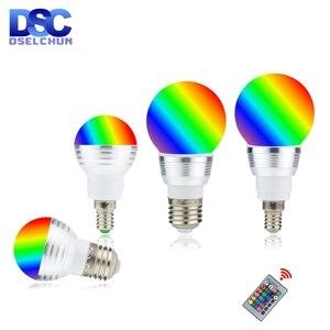 Image 1 - LED RGB Bulb 3W 5W E27 E14 16 Color Changing RGB Magic Light Bulb Lamp 85 265V 110V 220V RGB Led Spotlight with Remote Control