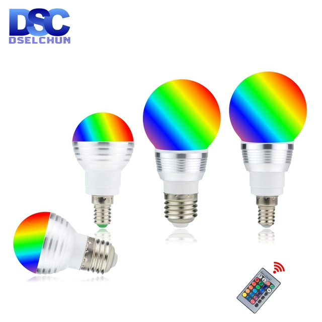 LED RGB Bulb 3W 5W E27 E14 16 Color Changing RGB Magic Light Bulb Lamp 85 265V 110V 220V RGB Led Spotlight with Remote Control