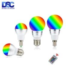 Led rgb電球 3 ワット 5 ワットE27 E14 16 色の変更rgbマジック電球ランプ 85 265 12v 110v 220v rgbリモコンでledスポットライト
