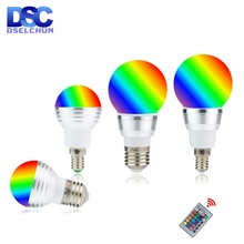 Светодиодный RGB лампа 3 Вт 5 Вт E27 E14 16 цветов меняющий RGB волшебный светильник лампа 85 265 в 110 В 220 в RGB Светодиодный точечный светильник с пультом дистанционного управления