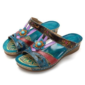 Zapatillas MR CO de verano para mujer, sandalias étnicas, zapatos de cuña con suela gruesa, zapatos cómodos de mujer con flor de PU, zapatos Casuales