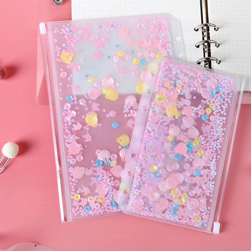 Transparent A5 A6 Pink Sequin Loose-Leaf Zipper 6 Hole Document Bag File Folder Inner Pocket Stationery Agenda School Office Sup