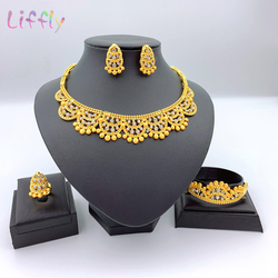 Luxury Dubai Jewelry Sets Costume Gold Necklace Ring Earring Bracelet for Women Bridal Jewellery set Gifts Baby Feet Print