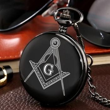 Custom Masonic Freemasonry Chrome Square And Compass Mason Retro Black Quartz Pocket Watch Best Gifts For Freemason Dropshipping