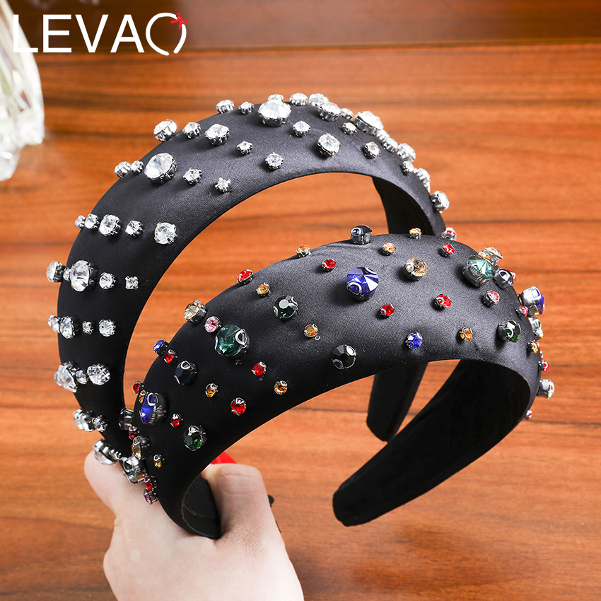 Levao2020 New Hair Band Solid Color Rhinestone Hoop Girl Hair Bands  For Hair Accessories