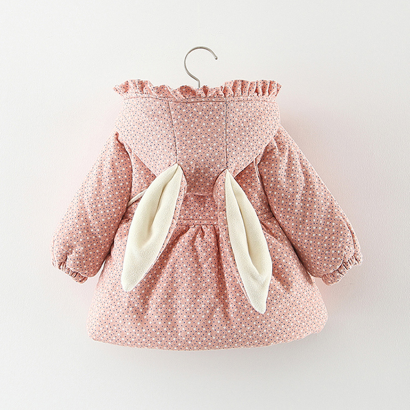 2019 Newborn Baby Girl Clothes Floral Hooded Cotton-padded Jacket Outerwear For 1 Year Baby Birthday Clothing Girls Outfits Coat