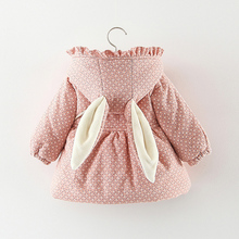 2019 Newborn baby girl clothes floral hooded cotton-padded jacket