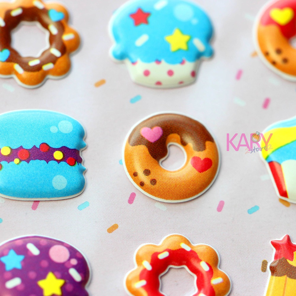 Donuts Cupcakes Puddings Desserts Food Soft Bubble Stickers Scrapbooking Phone Craft Kawaii Gift Reward Kids Toys For Children